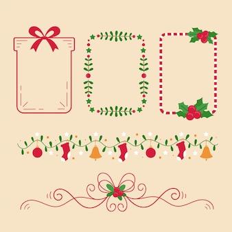 Hand gezeichnete weihnachtsrahmen und grenzsatz