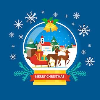 Hand gezeichnete weihnachtsschneeballkugel