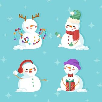 Hand gezeichnete weihnachtsschneemannsammlung
