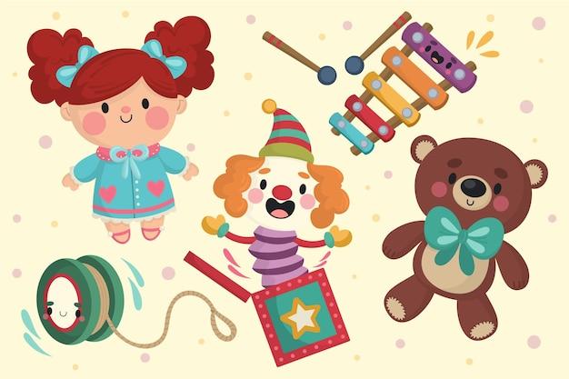 Hand gezeichnete weihnachtsspielzeugsammlung