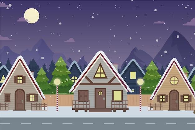 Hand gezeichnete weihnachtsstadt in der nachtzeit