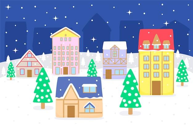 Hand gezeichnete weihnachtsstadt nachts