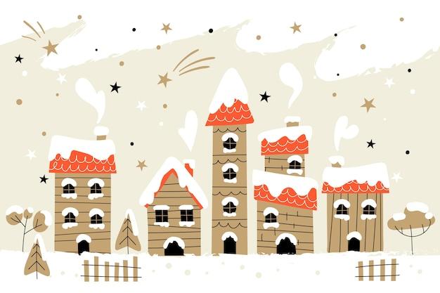 Hand gezeichnete weihnachtsstadt