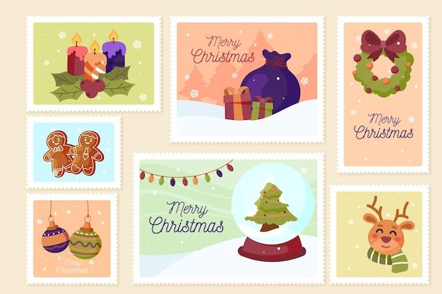Hand gezeichnete weihnachtsstempelsammlung