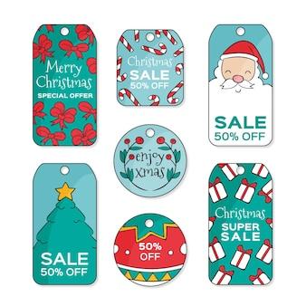 Hand gezeichnete weihnachtsverkauf rabatte