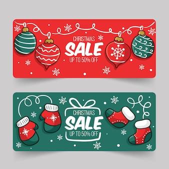 Hand gezeichnete weihnachtsverkaufs-fahnenschablone