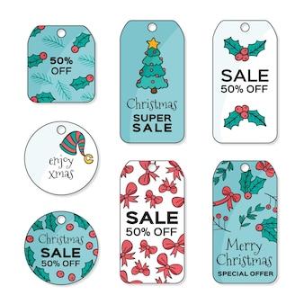 Hand gezeichnete weihnachtsverkaufs-tag-pack
