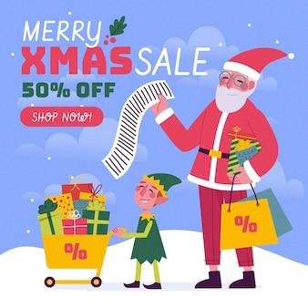 Hand gezeichnete weihnachtsverkaufsfahne mit weihnachtsmann