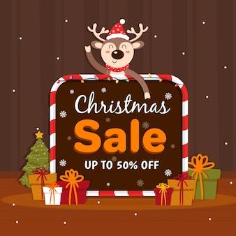 Hand gezeichnete weihnachtsverkaufsfahne