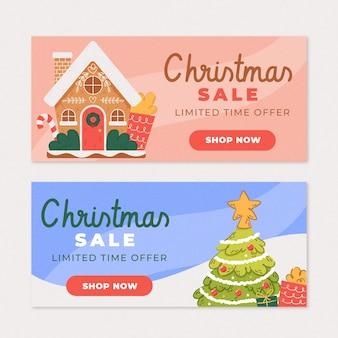 Hand gezeichnete weihnachtsverkaufsfahnen
