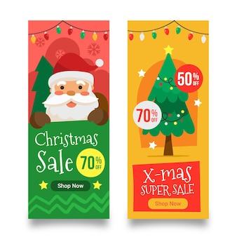 Hand gezeichnete weihnachtsverkaufsfahnenschablone