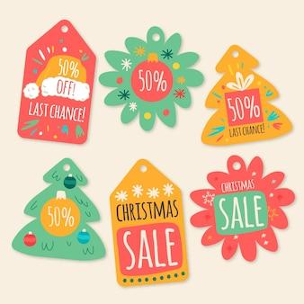 Hand gezeichnete weihnachtsverkaufstagsammlung