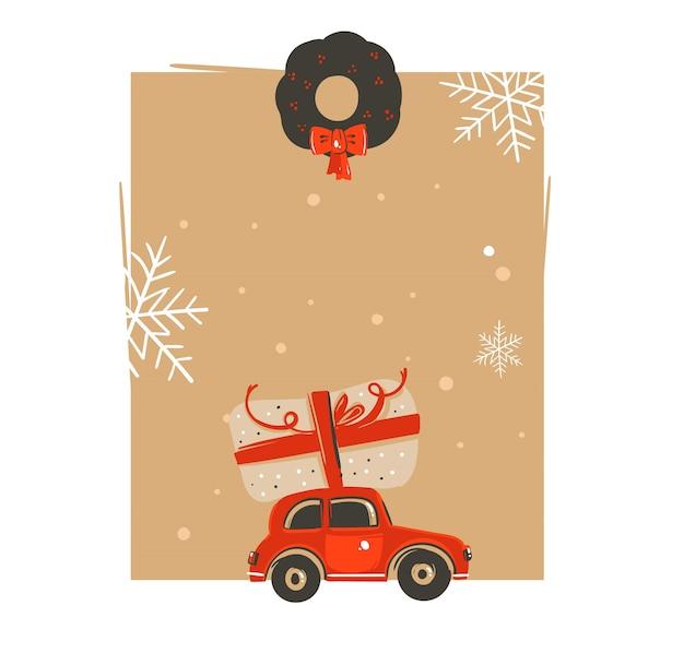 Hand gezeichnete weinlese-weihnachts- und frohes neues jahr-weinlese-karikaturillustrationen grußkarten-tag-vorlage mit auto und überraschungs-weihnachtsbox isoliert