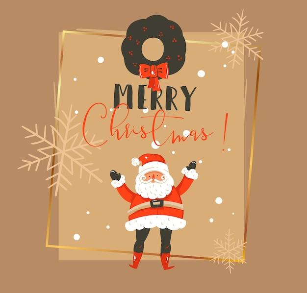 Hand gezeichnete weinlese-weihnachts- und frohes neues jahr-weinlesekarikaturillustrations-grußkartenschablone mit weihnachtsmann, mistelkranz und typografie isoliert