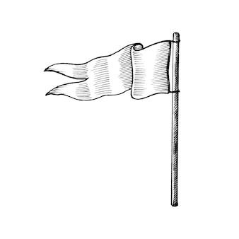 Hand gezeichnete weiße Flagge