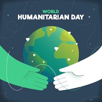 Hand gezeichnete welt humanitären tag hintergrund