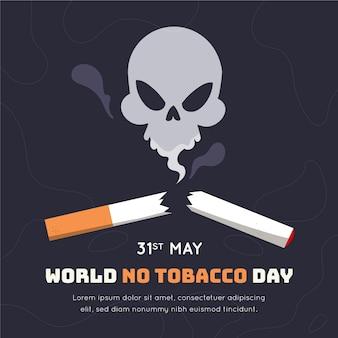 Hand gezeichnete welt kein tabak tag illustration