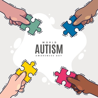Hand gezeichnete weltautismus-bewusstseins-tagesillustration mit puzzleteilen