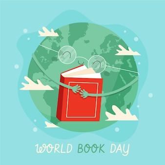 Hand gezeichnete weltbuch-tagesillustration mit planetenumarmungsbuch