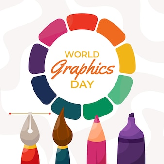 Hand gezeichnete weltgrafik-tagesillustration