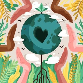 Hand gezeichnete weltumwelttagillustration
