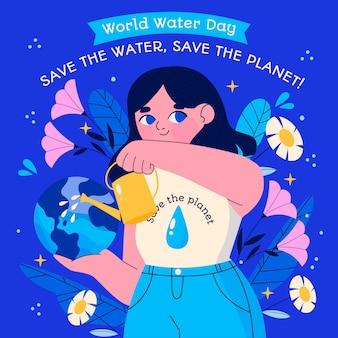 Hand gezeichnete weltwassertagillustration mit frau, die planeten wässert