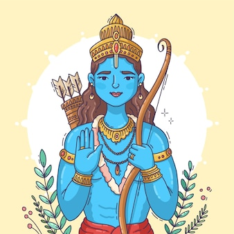 Hand gezeichnete widder-navami-illustration