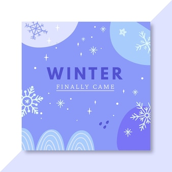 Hand gezeichnete winter facebook post vorlage