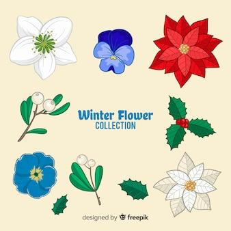 Hand gezeichnete winterblumensammlung