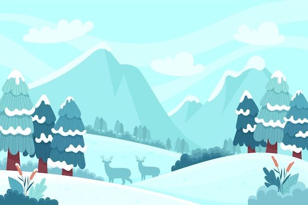 Hand gezeichnete winterlandschaft