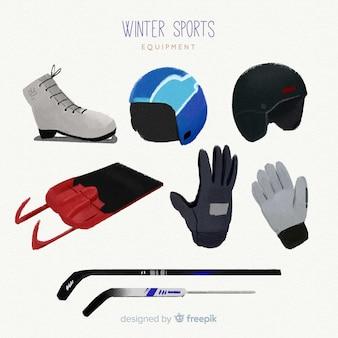 Hand gezeichnete wintersportausrüstung