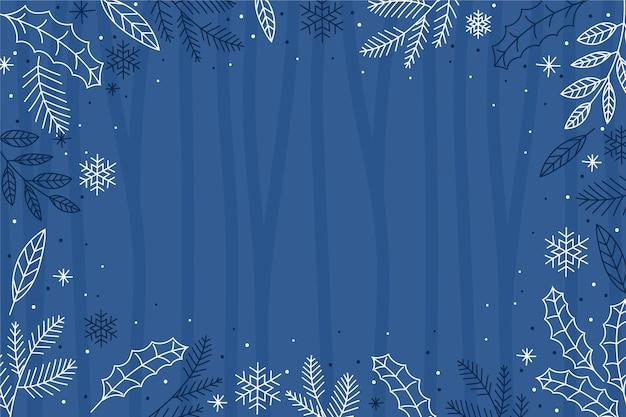 Hand gezeichnete wintertapete mit leerem raum