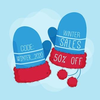 Hand gezeichnete winterverkaufsaktion mit handschuhen