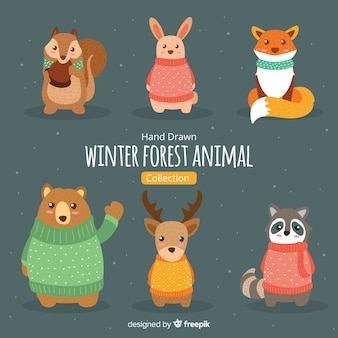 Hand gezeichnete winterwaldtiersammlung