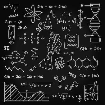 Hand gezeichnete wissenschaftliche formeln auf tafel