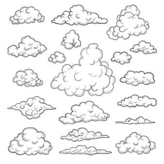 Hand gezeichnete wolken. wettergrafik symbole dekorative himmel vektor natur objekte wolkensammlung. illustration wolkenwetter, bewölkte vorhersage