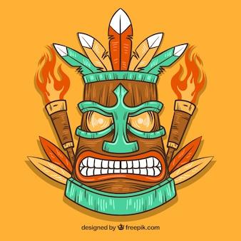 Hand gezeichnete wütende tiki maske mit fackeln