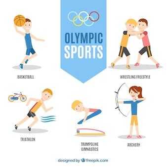 Hand gezeichnete zeichen in den olympischen spielen