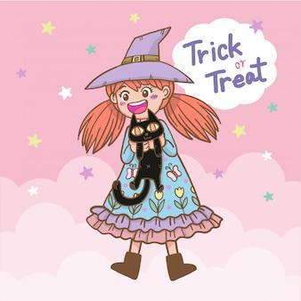 Hand gezeichnete zeichentrickfilm-figur-halloween-hexe