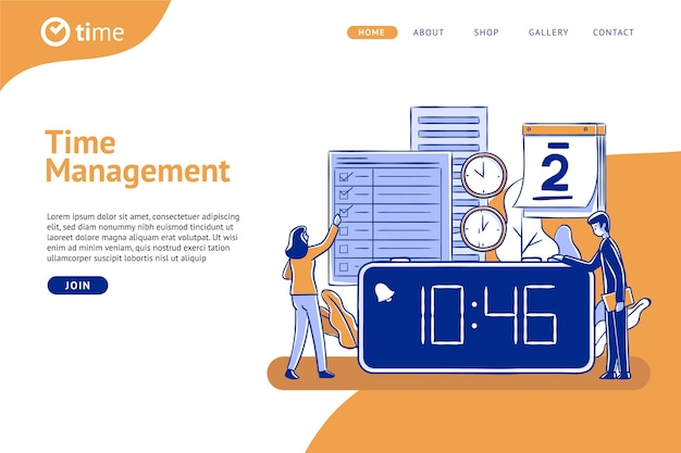 Hand gezeichnete zeitmanagement-webvorlage