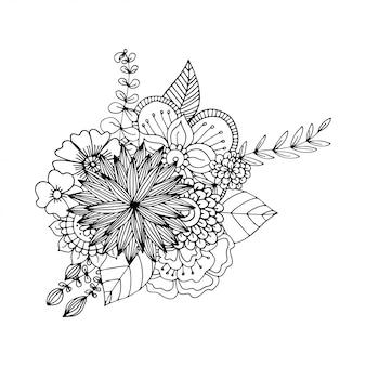 Hand gezeichnete zentangle gekritzelillustration für erwachsene malbücher