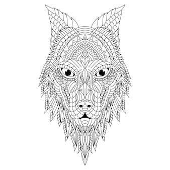 Hand gezeichnete zentangle wolfskopfillustration