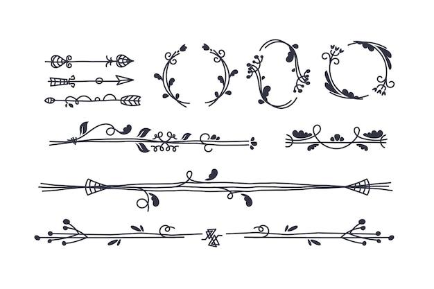 Hand gezeichnete zierelementsammlung