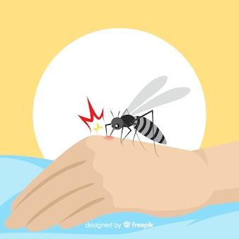 Hand gezeichnete zusammensetzung des moskitos beißend a