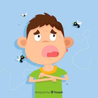 Hand gezeichnete zusammensetzung des mückenstichs