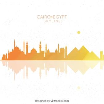Hand gezeichnete zusammensetzung mit kairo's skylinen