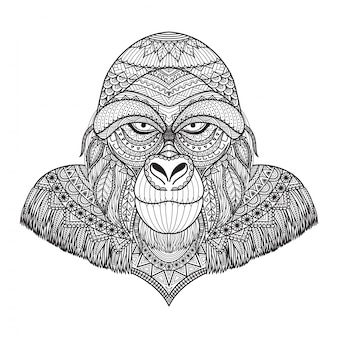 Hand gezeichneten gorilla hintergrund