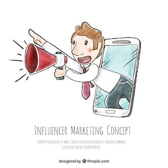Hand gezeichneten influencer-marketing-vektor mit dem menschen