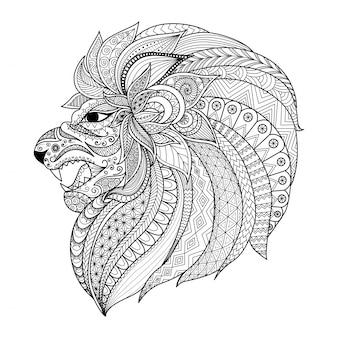 Hand gezeichneten löwen kopf hintergrund