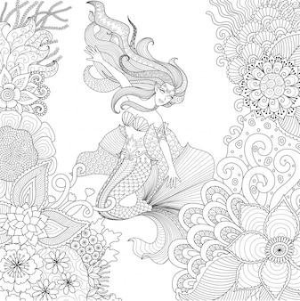 Hand gezeichneten meerjungfrau hintergrund